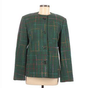VINTAGE Wool Blend Button Green Tweed Jacket SZ 12